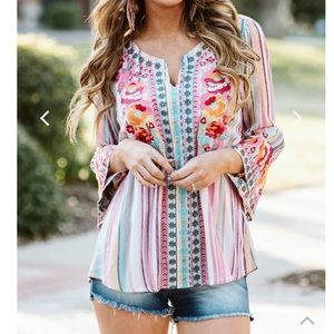 Stripes and embroidery top